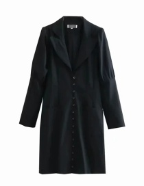 Fashion Black Cotton And Linen Puff Sleeve Breasted Suit Dress