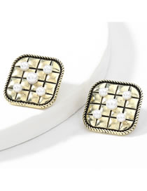 Fashion Ancient Gold Color Square Horizontal Stripe Geometric Alloy Inlaid Pearl Earrings