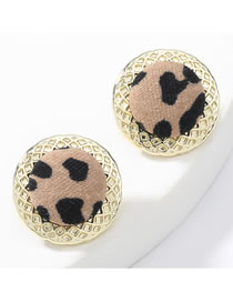 Fashion Brown Round Alloy Leopard Print Cloth Earrings