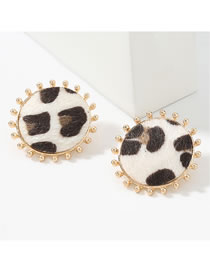Fashion White Round Alloy Leopard Print Flannel Flocking Earrings