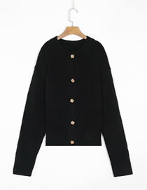 Fashion Black Round Neck Single-breasted Knitted Cardigan Sweater