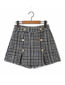 Fashion Dark Houndstooth Double-breasted Split Shorts