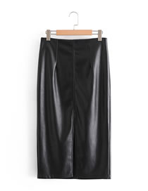 Fashion Black Imitation Pu Leather Solid Color Straight Skirt