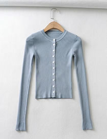 Fashion Blue Shiny Silk Knit Single-breasted Slim-fit Sweater