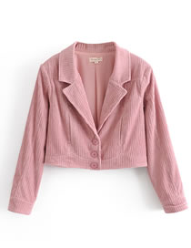 Fashion Pink Slim-fit Corduroy Short Shoulder Pad Blazer