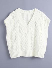 Fashion White Cable Knit V-neck Sleeveless Sweater
