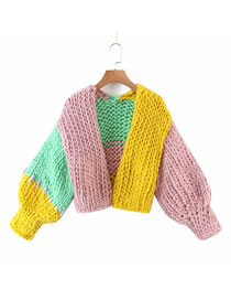 Fashion Color Mixing Handmade Contrast Sweater Sweater