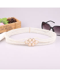 Fashion White Pearl Diamond Flower Dress Belt