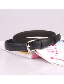 Fashion Black 120 Pin Buckle Imitation Leather Japanese Buckle Thin Belt