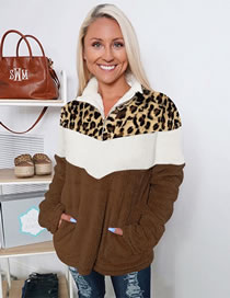 Fashion Brown Leopard Print Contrast Stitching Lapel Loose Double-sided Fleece Long-sleeved Jacket