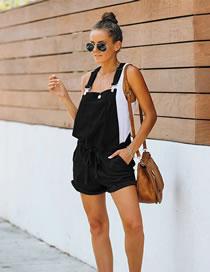 Fashion Black Sleeveless Lace-up Slim High Waist Overalls
