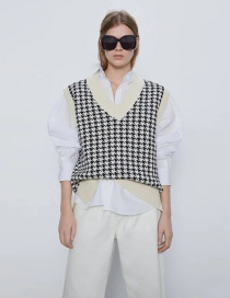 Fashion Beige Houndstooth V-neck Sleeveless Pullover