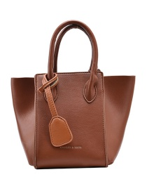 Fashion Brown Stitched Wings And Gold Letters Shoulder Bag