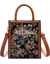 Fashion Brown Embroidered Letters Embroidery One-shoulder Messenger Bag