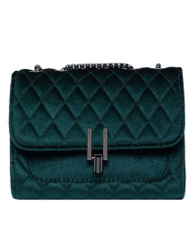 Fashion Green Velvet Chain Lock Shoulder Crossbody Bag