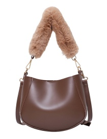 Fashion Brown Hair Handle Lacquered Edge Stitching One-shoulder Messenger Bag