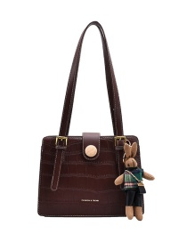 Fashion Coffee Color Stone Pattern Hot Stamped Letters Contrast Color Shoulder Bag