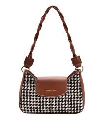 Fashion Brown Houndstooth Contrast Stitching Crossbody Shoulder Bag