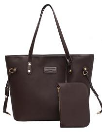 Fashion Coffee Color Large-capacity Letter Label Solid Color Shoulder Bag