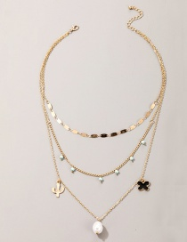 Fashion Golden Alloy Cactus Flower Pearl Multilayer Necklace