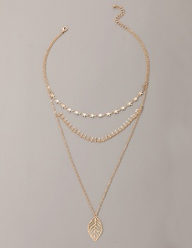 Fashion Golden Five-pointed Star Leaf Alloy Hollow Multilayer Necklace
