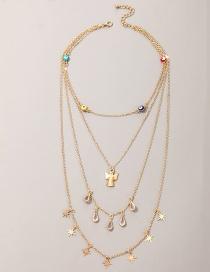 Fashion Golden Eyes Star Angel Pendant Geometric Water Drop Diamond Multilayer Necklace