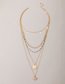 Fashion Golden Disc Moon Eye Multilayer Necklace