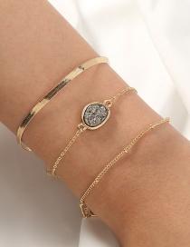 Fashion Golden Resin Crystal Cluster Geometric Alloy Multilayer Bracelet