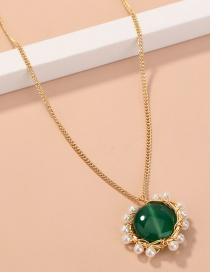 Fashion Green Oblate Natural Stone Pearl Pendant Necklace