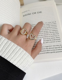 Fashion Love Hollow Pearl Love Round Open Ring
