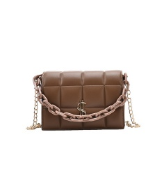 Fashion Coffee Color Chain Houndstooth Shoulder Crossbody Bag