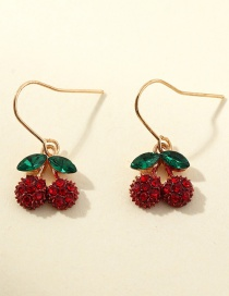 Fashion Red Cherry Fruit Earrings With Zircon