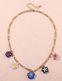 Fashion Golden Glass Beads Flower Resin Alloy Necklace