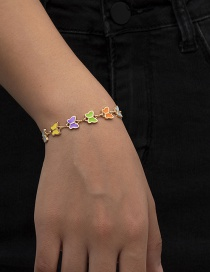 Fashion Golden Color Butterfly Butterfly Drop Oil Thick Chain Love Alloy Bracelet