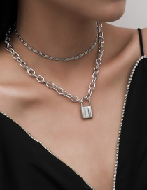 Fashion White K Alloy Lock-shaped Thick Chain Alloy Multilayer Necklace