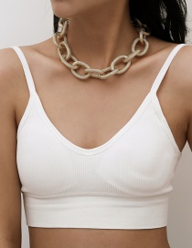 Fashion Golden Single Layer Thick Chain Pattern Chain Necklace