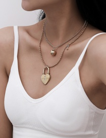 Fashion Golden Peach Heart Alloy Multilayer Necklace With Micro Diamond Key