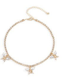 Fashion White Small Butterfly And Diamond Pendant Necklace