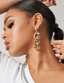 Fashion Golden Geometric Thick Chain Alloy Hollow Earrings