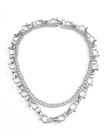 Fashion White K Multilayer Cross Chain Key Chain Alloy Necklace
