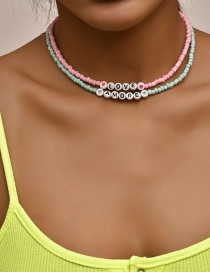 Fashion Color Mixing Handmade Beaded Letters Contrasting Color Multilayer Necklace