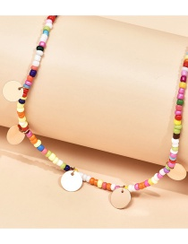 Fashion Color Mixing Round Piece Handmade Rice Bead Beaded Necklace