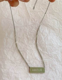 Fashion Silver Stainless Steel Thick Chain Square Brand Letter Necklace