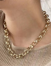 Fashion Golden Thick Chain Alloy Hollow Cross Necklace