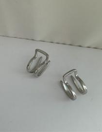 Fashion Silver Pair Half Circle Hollow Without Pierced Ear Bone Clip