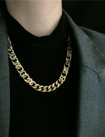 Fashion Golden Thick Chain Letter Alloy Hollow Necklace