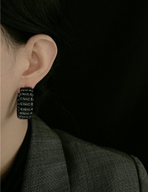 Fashion Black Leather Letter Woven C-shaped Wide Earrings
