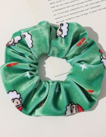 Fashion Christmas Flannel Hair Tie-fruit Green Christmas Printed Flannel Large Intestine Ring Hair Rope