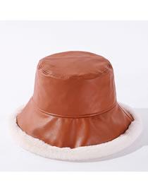 Fashion Caramel Pure Color Fisherman Hat With Warm Plush Pu Leather