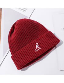Fashion Red Kangaroo Embroidered Warm Wool Knitted Hat